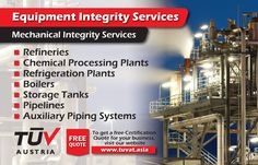 TUV Austria - Equipment Integrity Services. No compromise on safety. For further queries: tuvat.asia/get-a-quote or call Pakistan: +92 (42) 111-284-284 | Bangladesh +880 (2) 8836404 | Sri Lanka +94 (11) 2301056 to speak with a representative. #ISO #TUV #certification #inspection #pakistan #iso9001 #bangladesh #srilanka #lahore #karachi #colombo #dhaka #safety