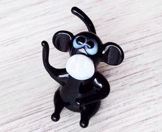 Black glass monkey figurine animals glass monkey sculpture art glass monkey toy murano animals tiny small lampwork figure glass blowing