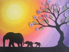 African Sunset Elephant Family
