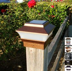 Copper solar deck post lights 6x6 with 5 led low profile set of 2 4x4 copper solar post cap lights set of 2 upgraded 2 smd white led aloadofball Images