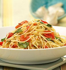 Pasta with Fresh Tomatoes Friday = quick and easy :) Ingredients 1 medium tomato  *add more if you like 1 (8 ounce) package of angel hair pasta 1 clove garlic dried basil or fresh basil leaves, who…