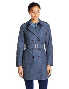 Add Down Women's Double Breasted Trench Coat, Dark Navy/Flower Print, 40 Double-breasted trench coat with lapels and belt made from water repellent, memory fabric with small flower print. Tone-on-tone lining in light, semi-dull nylon. Rubberized button-front closure with tone-ontone lining, welt pockets and fabric-covered belt buckle.Double breasted trench coatTrench coat