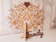Personalised standing family tree with hearts pyrography