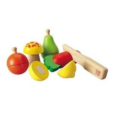 Plan Toys Fruit & Vegetable Play Set is a colorful assortment of wooden play food sized for toddlers 2 and up. Can be cut in half with included knife! Colorful Vegetables, Colorful Fruit, Veggies, Toddler Toys, Baby Toys, Kids Toys, Children's Toys, Infant Toddler, Wooden Play Food