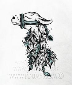 LouJah - Poetic Llama #art #illustration #draw #drawing #doodle #stretch #boho #dessin#bohostyle #bohemian #gypsy #gypsies #hippy #hippies #llama #lama #animal #animals #wild #wildlife #feather #feathers #cute #tattoo #ideatattoos #tattoos #tatouage