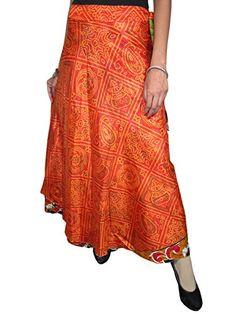 Orange Wrap Around Skirt Vintage Silk Sari Reversible Sarong Magic Skirts Mogul Interior http://www.amazon.com/dp/B00ORFK5J0/ref=cm_sw_r_pi_dp_cg5rub18C90XK