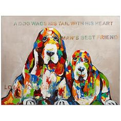 Framed in pine and rendered on canvas, this modern oil painting features a colorful rendition of a pair of dogs, celebrating all the love and joy they bring to the lives of those who love them.