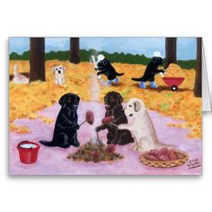 Whimsical and cute Labrador Retriever painting painted by Naomi Ochiai from Japan. Nice Labrador gifts for Labrador lover's home. This is one Autumn scenery with Labradors. Black Labrador, Chocolate Labrador, Yellow Labrador are all painted in the picture. Happy Labrador Retriever dogs enjoy roasting sweet potatoes with the dead leaves and some are cleaning up the garden and others are playing with dead leaves!! Pile of yellow leaves on the ground. You can customize text and more! Labrador…