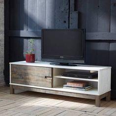 Banc TV 1 porte coulissante 2 niches PALLET pin certifié FSC prix promo Meuble TV 3 Suisses 200.00 € TTC