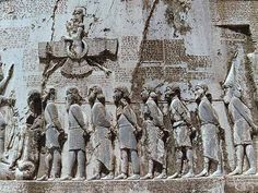 The faravahar also appears on the so-called Behistun Inscription, a multilingual inscription and large rock relief near the city of Kermanshah in western Iran, established by Darius I (550–486 BC). Ancient Aliens, Ancient Mysteries, Ancient Artifacts, Ancient Mesopotamia, Ancient Civilizations, Aliens History, History Facts, Nephilim Proof, Ancient Persia