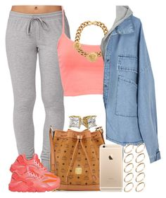 """""""Coral Lava."""" by livelifefreelyy ❤ liked on Polyvore featuring Forever 21, Pull&Bear, MCM, NIKE, Versace and ASOS"""