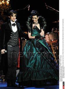 La troupe de Mozart, l'Opéra Rock avec Dove Attia et Albert Cohen au théâtre Marigny, le 23 mars 2009. Melissa Mars & Florent Mothe © PurePeople