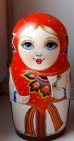Blue-eyed matryoshka – Russian nesting doll. #folk #art #matryoshka