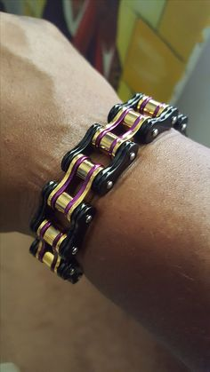 Tri-Color Stainless Steel Motorcycle Chain Bracelet.