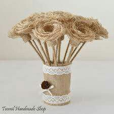 Burlap Flowers with Stems Rustic Shabby Chic Wedding by Teomil Burlap Flowers, Diy Flowers, Fabric Flowers, Beaded Flowers Patterns, Shabby Chic Wedding Decor, Rose Crafts, Fabric Wreath, Rustic Bouquet, Burlap Crafts