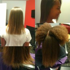 Natural hair straightened & damaged ends cut.