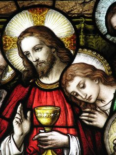 Jesus and Mary Magdalene, The Last Supper - Photograph of Stained Glass Window