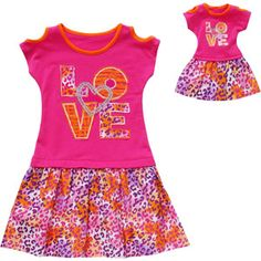 """Together Forever, Matching Plus Girl and 18"""" Doll Dress Set"""