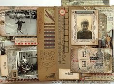 Tim Holtz Family Folio Tutorial, pg. 6 ~ Love the layered tags, pockets and flip pages...so many layers to embellish!