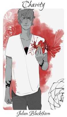 Cassandra Jean's virtues and vices: Julian representing charity because he gives every piece of himself away