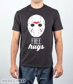 Crystal Lake Hugs | Let everyone know that you are giving away free hugs this trick or treat. This classic shirt will do all of the work for you. #Skreened #fridaythe13, #jason, #horror, #halloween, #mask