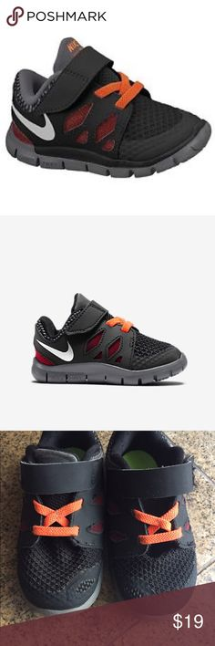 Toddler Nike Free 5.0 Great little shoes for your little one! the Nike Free 5.0 is black, red, gray combo with orange laces and Velcro. I can not find the shoe size listed on shoe...But based on box and heel to toe measurement it is a size 8 toddler. Gently worn, In good used condition. Will come with original box. Nike Shoes Sneakers