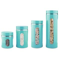 4 Piece Essence Collection Stainless Steel Canister Set, Turquoise, Silver, Home Basics(Metal) Turquoise Kitchen Decor, Aqua Kitchen, Turquoise Glass, Aqua Decor, Glass Kitchen, Tiffany Blue Kitchen, 1950s Kitchen, Kitchen Ware, Kitchen Counters