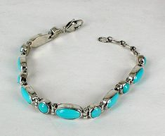 Hand made Native American Indian Jewelry; Navajo Sterling Silver turquoise link bracelet