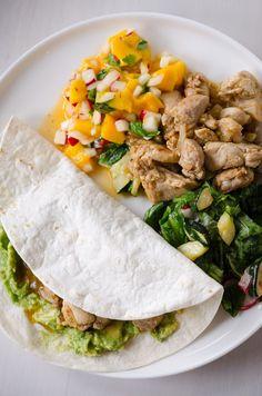 Chicken tacos, mango salsa and radish salad