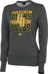 Oregon Ducks Women's Nike Vault Charcoal Comfy Crewneck Sweatshirt