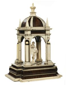 An Ivory & Rosewood Architectural Tempietto dating from the century, the figure is second half of the century - Italian or Austrian Work - Dim: H: 47 cm, L: 32 cm, D: 26 cm. Gothic Furniture, Furniture Design, Obelisk, Temporary Architecture, Art Decor, Decoration, House Front Design, Fine Art Auctions, Facade House