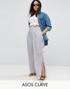 ASOS CURVE - Pantalon en lin texturé avec bande brute à la taille et fentes