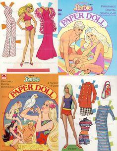 Malibu Barbie Vintage Paper Doll SET 4 Summer Beach Barbie Collections Printable Digital Download Barbie Birthday Party by mindfulresource