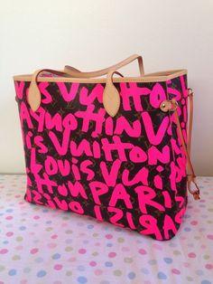 Louis Vuitton Monogram Graffiti Neverfull GM Fuchsia Authentic NEW  #LouisVuitton #TotesShoppers