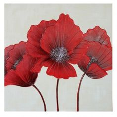 Red Flower Canvas Wall Art 80 x 80cm