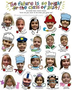"What do you want to be when you grow up?  Another pinner says ""This was a very FUN project that i did for a friend's school.  They auctioned these off for their school fundraising event.  I photographed each child in the 3 kindergarten classes and then asked them what they wanted to be when they grew up.  Some of the answers were hilarious and imaginative.  Then, with a little photoshop magic..."""