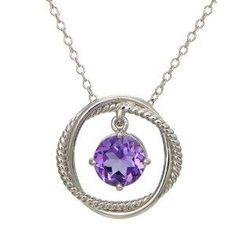 Free Bid Auction: Sterling Silver Amethyst Dangle Pendant Necklace, 18 - Zeekler
