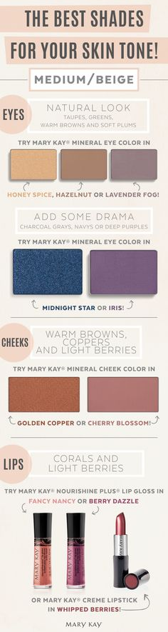 Creamy medium skin toned gals should turn to warmer eye color for a natural look and cooler tones for a more dramatic nighttime look using Mary Kay® Eye Color in Midnight Star or Iris. For lips, stick with corals and light berry hues like Mary Kay® Creme lipstick in Whipped Berries. #marykay #beauty