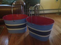 Two cool large tin pales in good condition $5.00 each turned them over found origin price on bottom $49.99 and I'm sure there was tax. So an other good fine