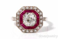Estate-European-Cushion-Diamond-1-83ct-Ruby-18K-Yellow-Gold-Engagment-Ring-NR