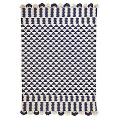 Navy/Ivory Zig Cotton Dhurrie Rug | Serena & Lily    possible rugs in front of vanities