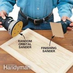 Random Orbital Sander It's hard to know what type of sander to buy for your projects. We'll take the confusion out of buying a sander for finishing kitchen cabinets and explain w - Random orbital sanders do the best job of finish-sanding wood. Finish Kitchen Cabinets, Kitchen Redo, Kitchen Designs, Kitchen Remodel, Sanding Wood, Sanding Tips, Refurbishing Furniture, Furniture Repair, Furniture Refinishing