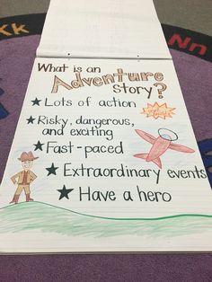 Adventure stories anchor chart Narrative Story, Narrative Writing, Action Story, Adventure Stories, Writing Anchor Charts, Author Studies, Grade 2, School Ideas, Literacy
