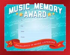 "MUSIC MEMORY CERTIFICATES PKG/25 - 11"" x 8"" Award Certificates, Music Awards, Memories, Memoirs, Souvenirs, Remember This, Award Display"