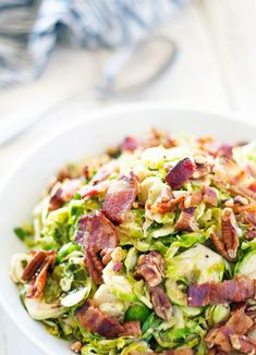 Brussels Sprout Salad with Hot Bacon Vinaigrette
