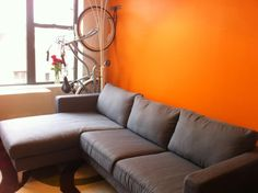 bike storage done purdy // Custom Karlstad sofa slipcover review from Comfort Works