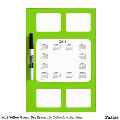 2018 Yellow Green Dry Erase Calendar by Janz Dry-Erase Board
