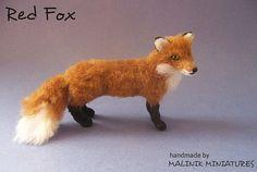 CUSTOM Handsculpted Red Fox - Dollhouse Miniature OOAK