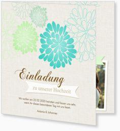 Einladungskarte zur Hochzeit - Blühend in Türkis