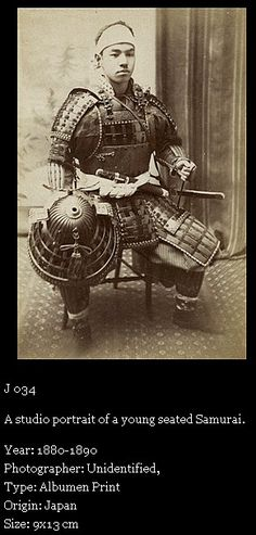 """A studio portrait of a young seated Samurai."""
